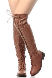 chestnut faux leather thigh high lace up combat boots cicihot