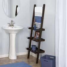 bathroom bathroom leaning ladder shelf with towel bar guest