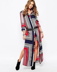 missguided missguided border print maxi shirt dress