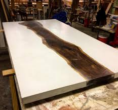new dining table top white concrete with live edge walnut slab