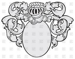 medieval decorations template of medieval heraldic emblem oval shield with