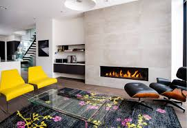 feature wall with gas fireplace in modern living room