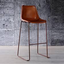 tabouret chaise de bar tabouret de bar en acier oxydé et cuir marron antique set de 2