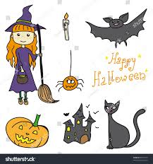 beautiful halloween set witch cat castle stock vector 83612779