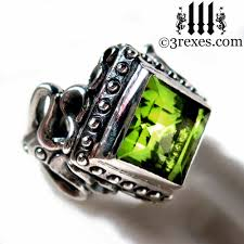 Gothic Wedding Rings by 3 Rexes Jewelry Gothic Engagement Ring Raven Love Green Peridot Stone