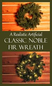 a realistic artificial classic noble fir wreath day by day in