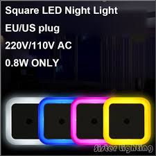 led night light with sensor eu us plug square night light wall socket light light sensor
