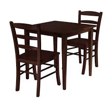 2 person kitchen table set 3 piece square casual dining set in antique walnut 94332