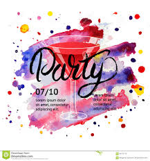 cocktail party martini glass hand written lettering poster