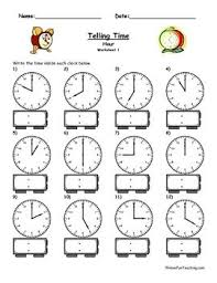 write the time shown on the clock 5 different worksheets plus