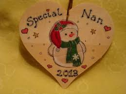 christmas tree snowman wooden heart tree hanger or wall decoration