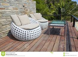 Outdoor Furniture Wood White Outdoor Furniture On Wood Resort Terrace Stock Photo Image