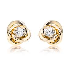 9ct gold cubic zirconia stud earrings 0000431 beaverbrooks the