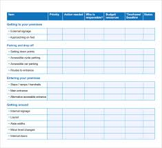 detailed table form of business action plan template with blue