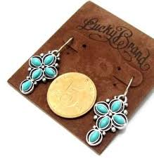 earrings brand lucky brand turquoise cross flower earrings