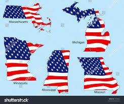 Flag Of Massachusetts Massachusetts Michigan Minnesota Mississippi Missouri Outlines