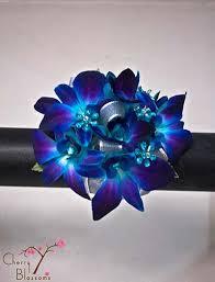 blue orchid flower blue orchid flower gems wrist corsage cherry blossoms florist
