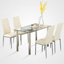 furniture kitchen table set 5 dining table set for 4 chairs glass metal kitchen breakfast