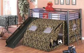 Bunk Beds With Slide And Stairs Gray Steel Bunk Bed With Black Slide And Stairs Plus Army Tent