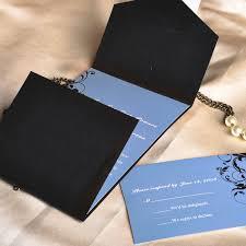 Affordable Pocket Wedding Invitations Vintage Dusty Blue And Black Damask Cheap Pocket Wedding