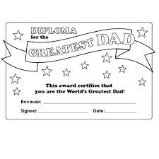 diploma for the greatest dad colouring sheet cleverpatch