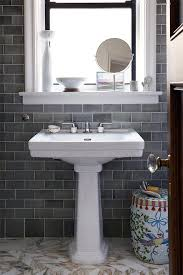 Polished Cove Base Tiles Bathroom Transitional With White Trim - Contemporary backsplash