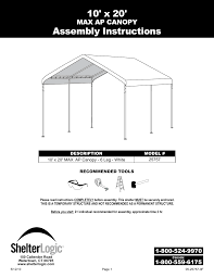 10 X 5 Canopy by Shelterlogic 25757 10 X 20 Max Ap Canopy User Manual 15 Pages