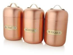 kitchen decor sugar flour tea coffee rice storage hammered copper