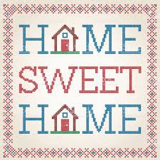 home sweet home decoration cross stitched home sweet home decoration with border design stock
