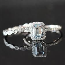 Aquamarine Wedding Rings by Two Rings Set 5x7mm Emerald Cut Natural Aquamarine Halo Ring And