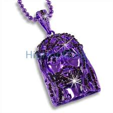purple rosary jesus purple iced out pendant rosary chain 5 less