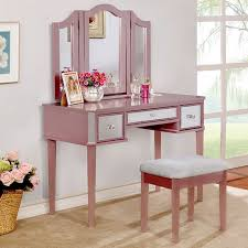 Bobkona St Croix Collection Vanity Set With Stool White 3 Pc Clarisse Collection Rose Gold Finish Wood Make Up Bedroom