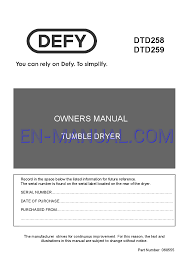 Manual Clothes Dryer User U0027s Manual For Clothes Dryer Defy Tumble Dryer Dtd259 Download