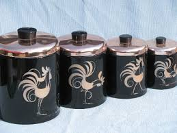 50s vintage ransburg roosters kitchen canister set black copper