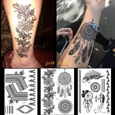 1pc black henna tattoo sticker dreamcatcher design gbj013