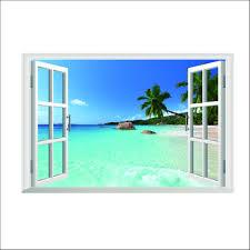 luckkyy 3d beach sea wall decal removable wall sticker amazon com