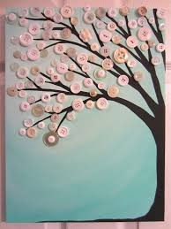 Home Button Decorations Robin U0027s Egg Blue Button Tree Painting Original Acrylic With