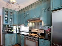 rustic kitchen cabinets with blue painted kitchen cabinet ideas