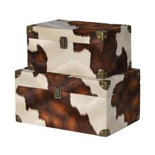 Faux Cowhide Chair Set Of 2 Faux Cowhide Storage Boxes