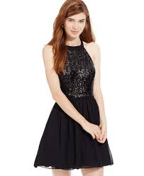 b darlin juniors u0027 sequin halter fit and flare dress macys com