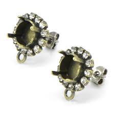 earring studs with loop 39ss stud earring base with rhinestone and bottom loop