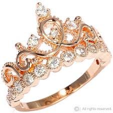 gold crown rings images Rose gold plated sterling silver crown ring princess ring jpg