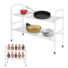 easy home expandable under sink shelf homdox 2 tier kitchen organizer stainless steel expandable