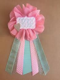 pink teal aqua silver baby shower corsage pin baby shower pin