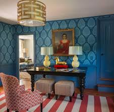 Living Room Ideas Gold Wallpaper Decorating Blue Trim And Blue Wainscoting Also Blue Wallpaper For