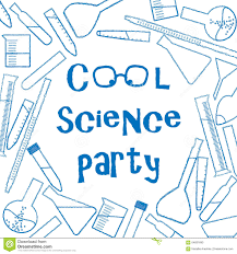 background with chemical glassware for cool science party poster