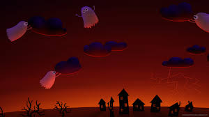 halloween cute ghosts village wallpaper for iphone 4