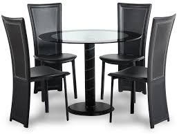 black dining room chairs set of 4 cameo 100cm glass round dining table and 4 chairs set