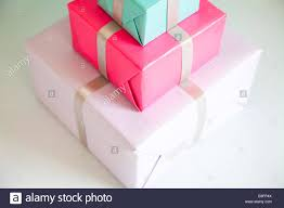 stack of three wrapped gifts stock photo royalty free image