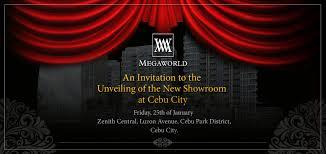 Showroom Invitation Card Mactan Newtown Condominium For Sale Cebu Philppines Megaworld